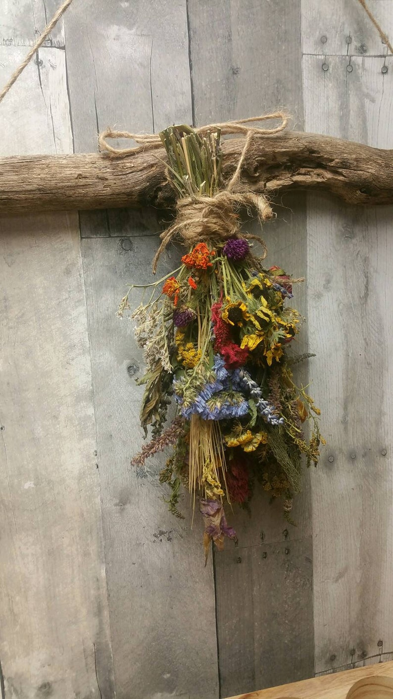 Medium Hanging Dried Herbal Floral BouquetAutumn Vintage image 0