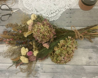 Pastel Beauty Dried Floral Bouquet- Lavender*Hydrangea* Celosia* Herbs* All Natural from Nature