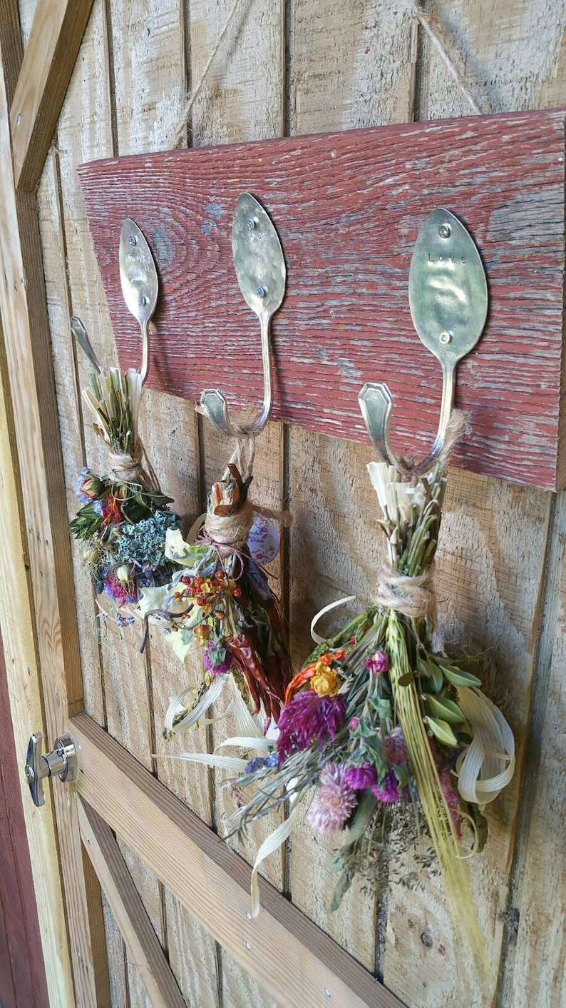 Rustic Farmhouse Triple silver spoon Handstamped barnwood image 0
