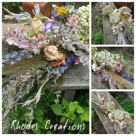 English Cottage Garden Dried Floral Swag All Natural From Etsy
