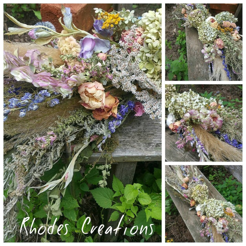 English Cottage Garden Dried Floral Swag All Natural from image 0
