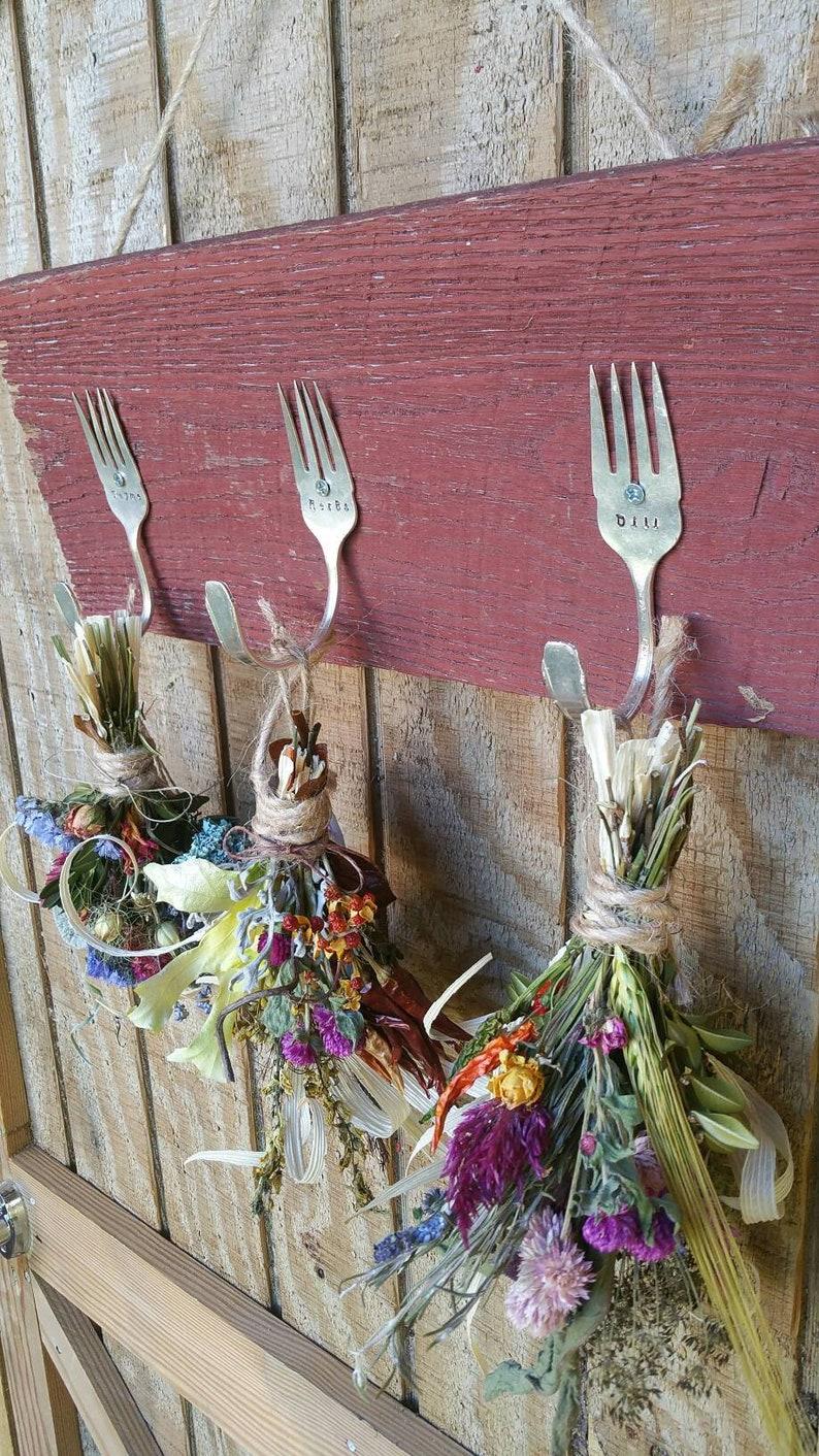 Rustic Farmhouse Triple silver fork barnwood herbal drying image 0
