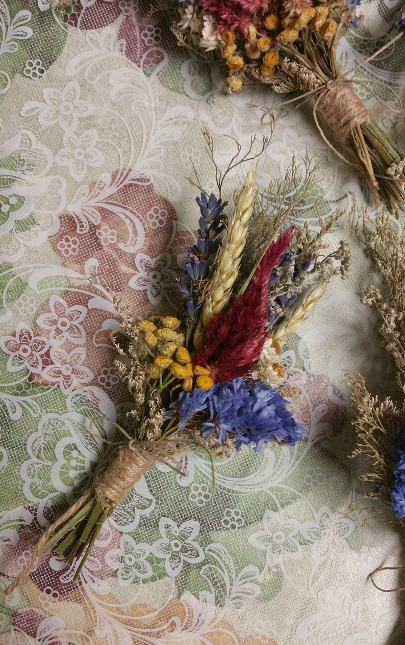Autumn Vintage Farmhouse Deluxe Boutonniere or Dried Mini image 0