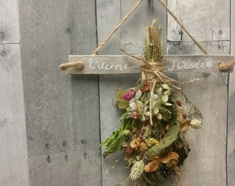 Nature's Bounty Dried Herb*Home Decor* Dried Floral Ornament- Autumn Vintage Farmhouse theme Decoration* with wooden drying rack