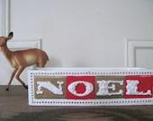 mcm, vintage 1960s NOEL ceramic planter - HOWARD HOLT - mid century modern Christmas decor, festive font, typeface, typography, xmas holiday