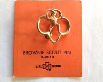 Vintage Brownie Scout Pin On Original Orange Card # 9 - 2019