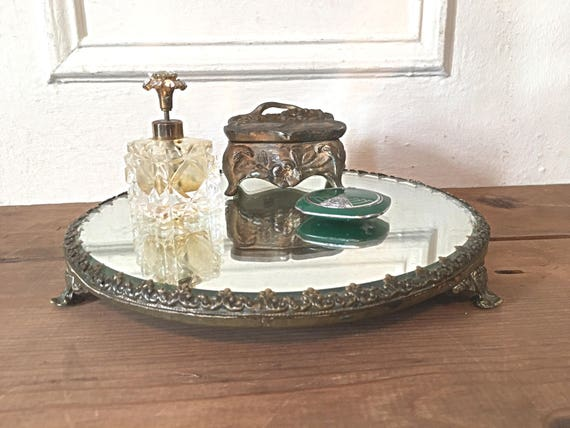 image 0 - Antique Vanity Tray Round Dresser Mirror Footed Frame Etsy