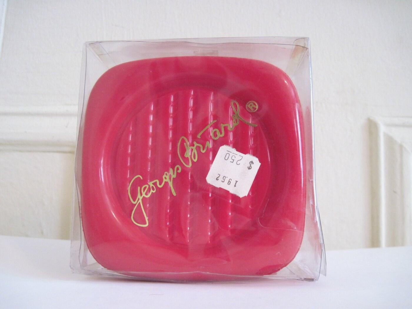 set of 6 vintage 60s Cherry Red Vinyl Coasters GEORGES BRIARD | Etsy