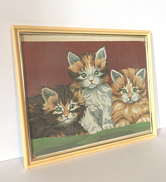 vintage 1960s KITTY Cat PBN Painting - MEOWS - 3 Little Kittens- framed  amateur art, paint by numbers - orange, white and brown