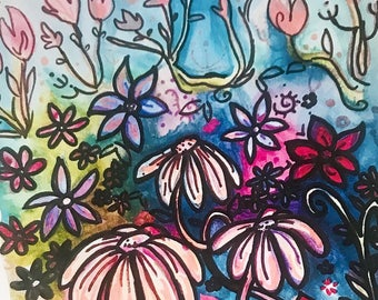 Whimsical Flower Garden Art Print by Megan Makes Magic