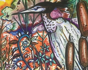 Heron in the Flowers Art Print by Megan Makes Magic