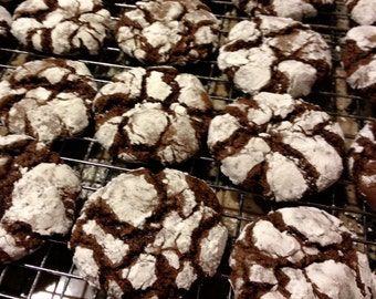 Double Chocolate Crackle Cookies, Crinkles, Crackles, Homemade Baked Goods, Cookies, Food Care Gift, Cookie Exchange, Cocoa, Holiday Treats