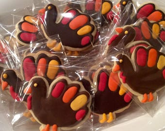 Decorated Turkey Sugar Cookies, Thanksgiving Cookie, Fall Treats, Homemade Baked Goods, Deer Camp Food, Party Favors, Hunting Party Food