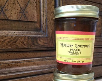 Peach Walnut Homemade Jam, Fruit Preserves, Artisan, Foodie Gift, Made in Michigan, Cheese Garnish, Ice Cream Topping, Condiment Spread
