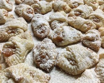 Fruit Kolachky Cookies, Cream cheese Cookies, Polish Christmas Cookies, Homemade Baked Goods, Food Care Package Gift, Kolacky