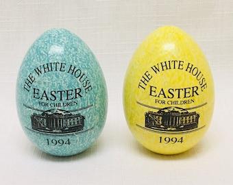 Super Rare Set Of 6 1997 White House Wooden Easter Egg Roll Etsy