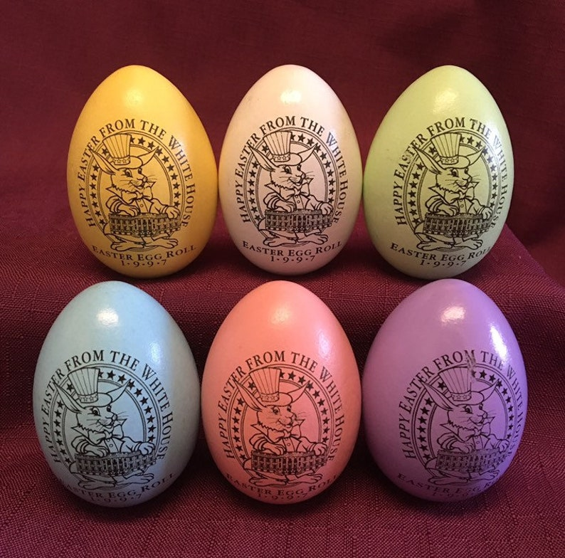 Super Rare Set Of 6 1997 White House Wooden Easter Egg Roll White Bill Hillary Clinton Pink Blue Yellow White Green Purple