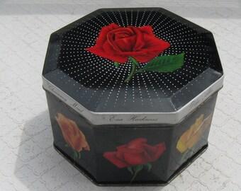 Vintage Hinged Octagon-Shaped Rose Tin, 1950s