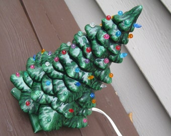 vintage ceramic christmas tree 9 inches tall 1970s - Vintage Ceramic Christmas Tree