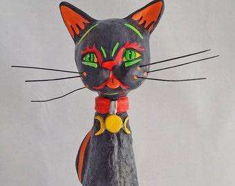 OOAK Cone Black Cat Familiar Doll Figure, Halloween, Wicca and Fall Decoration by Lori Platt The Pixie Knoll