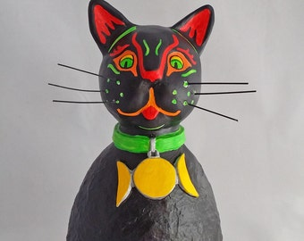 Large OOAK Roly Poly Black Cat Familiar Halloween, Wicca and Fall Decoration by Lori Platt The Pixie Knoll