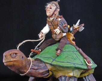 "OOAK polymer clay artist doll, ""Pixie Patrol"", pixie, gnome, fairy, military pixie on turtle, by Lori Platt The Pixie Knoll"