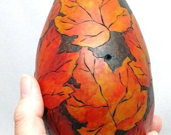 OOAK Small Autumn Leaf Dried Gourd Artist Bowl  by Lori Platt The Pixie Knoll