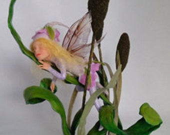 """OOAK polymer clay artdoll, Sleeping Fairy among the Cat Tails and Reeds, """"Nap Time""""  by Lori Platt  The Pixie Knoll"""