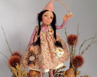 "OOAK polymer clay artdoll, ""Meadow"" pixie, fairy, gnome by Lori Platt The Pixie Knoll"
