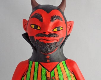 Large OOAK Roly Poly Devil Halloween and Fall Decoration by Lori Platt The Pixie Knoll