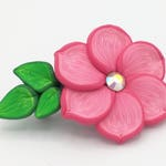 Pink Flower Barrette 2.5 Inches; Spring Blossom; Floral Hair Accessory Fashion; Style No: PIF06