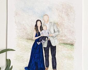 Watercolor Family Portrait Custom Painting