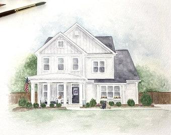 Custom Watercolor House Portrait | Watercolor Portrait | House Painting | Watercolor Painting