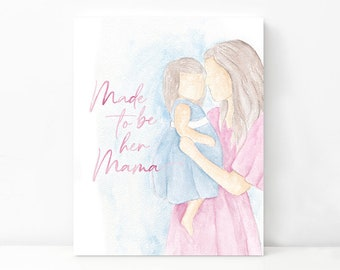 Mama and Daughter Mother's Day Digital Art Print | Watercolor Painting for Girl Moms | Watercolor Painting | Mother's Day Painting