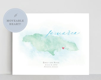 Jamaica Watercolor Map, Personalized Map of Jamaica