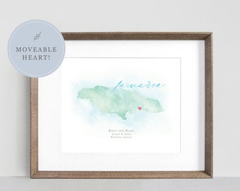 Jamaica Watercolor Map, Framed Personalized Map of Jamaica