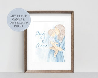 Mother and Son Mother's Day Watercolor Print | Watercolor Painting for Boy Mom | Watercolor Painting | Baby Shower Print | Mother's Day Art