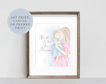 Mama and Daughter Mother's Day Watercolor Print | Watercolor Painting for Girl Moms | Watercolor Painting | Mother's Day Art Print
