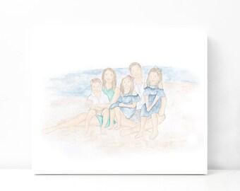 Custom Watercolor Family Portrait | Original Watercolor Portrait | Family Painting | Original Watercolor Painting