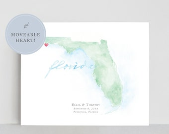 Florida Watercolor Map | Personalized Map Print