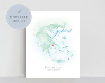 Greece Watercolor Map, Personalized Map of Greece