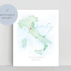 unique directions personalized hand-drawnpainted map with calligraphy wedding Custom illustrated map digital file watercolor
