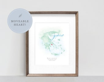 Greece Watercolor Map, Framed Personalized Map of Greece