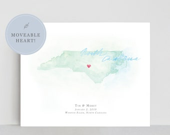 North Carolina Watercolor Map | Personalized Map Print