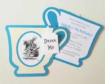 Alice in Wonderland Teacup Invitation - Pack of 10