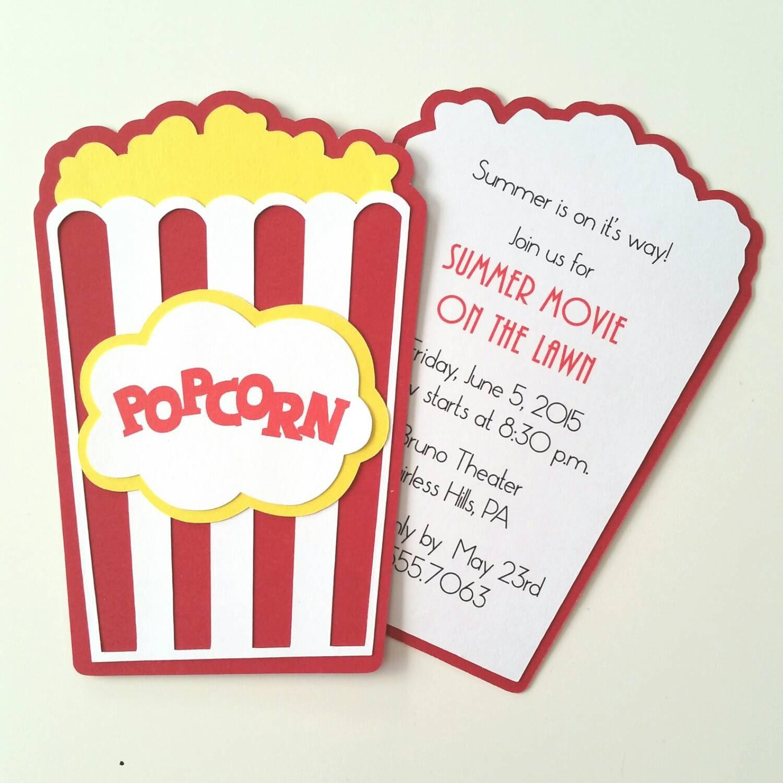 Popcorn Invitation Pack of 10 | Etsy