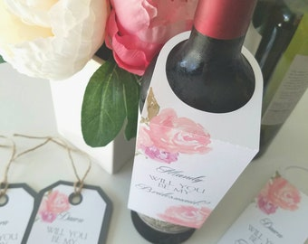 Wine Tags - Will You Be My Bridesmaid/Maid of Honor - Wedding Party Invitation