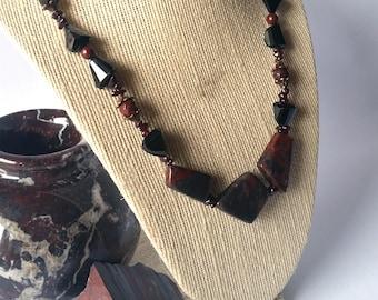 Jasper Necklace - Garnet Necklace, Spinel, Semiprecious Stone, Crystal Necklace, Statement Necklace