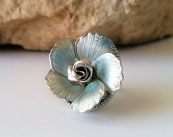 Blue Rose Adjustable Ring - Womans Ring