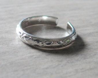Sterling silver toe ring • Adjustable toe ring • Floral toe ring • Sterling toe ring silver • Pattern toe rings minimalist summer fashion